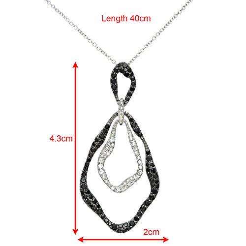 Revoni Bague en or blanc-18carats Diamant 0.88ct Noir et Blanc, Garni Marquise Pendentif avec chaîne 40cm
