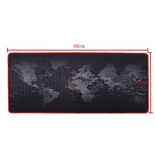 World Map Locking Edge Mouse Pad Gamer Large Size Computer Keyboard Mat Table Gaming Mousepad (600x300mm) (World Map Sticky Notes)