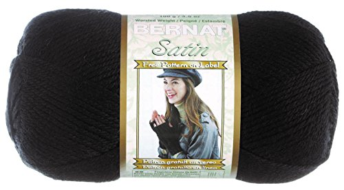 Bernat Satin Solid Yarn, Ebony, Single Ball