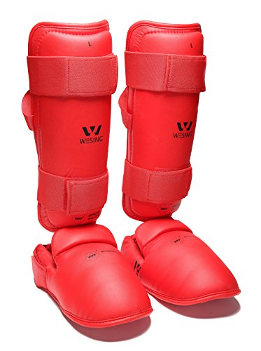 wesing karate shin and instep guard karate shin protector approved by wkf (RED, - Instep Shin Protector