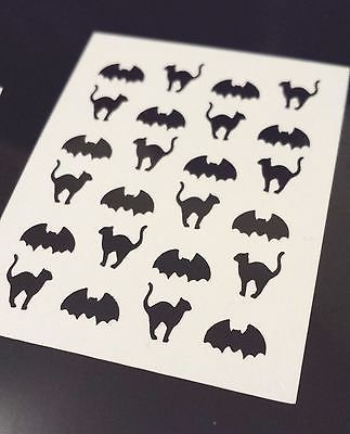 HALLOWEEN BLACK CAT BAT Fingernail Art Decal Stickers Nail Vinyls
