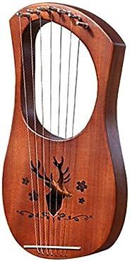 PQZATX 7-String Lyre Harp Mahogany Solid Wooden Metal Strings Stringed Instruments