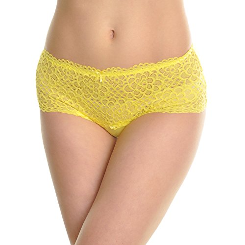 Angelina 6-Pack Cotton See-Through Floral Lace High-Cut Briefs, ()