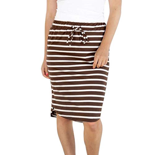 Stripe Short Skirt for Women Knee Length Casual Striped Skirts Summer Elastic (Brown Striped Shorts)
