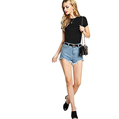 SheIn Women's Basic Plain Round Neck Short Sleeve Stretchy T-Shirts at  Women's Clothing store