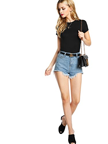 SheIn Womens Basic Plain Round Neck Short Sleeve Stretchy T-Shirts