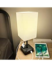 COZOO Bedside Table Desk Lamp with 3 USB Charging Ports and 2 Outlets Power Strip,Charger Base with White Fabric Shade, LED Light for Bedroom/Nightstand/End Table/Living Room