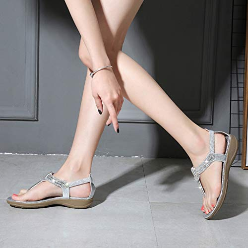 chaussures de Chaussures Darringls strass Sandales Jewel élégantes femmes Tongs pour mer élégantes Argent d'été d'été avec qqHS8O