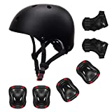 YUFU Kids Helmet Youth Sports Protective Gear Set for 9-13 Year Boys Girls Bike Skateboard Adjustable Helmet Knee Wrist Pads Elbow Guards for Cycling Skating Roller Scooter Bicycle, Pack of 7 Black M