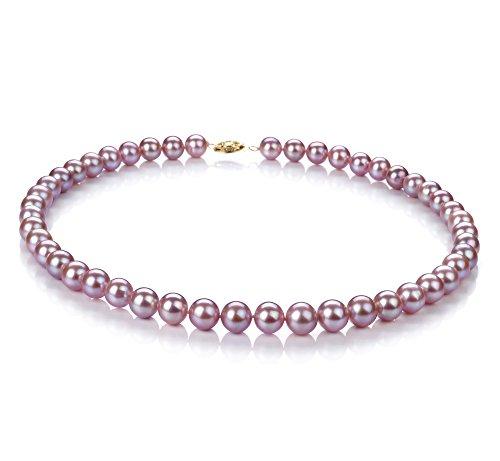 Lavande 8.5-9mm AA-qualité perles d'eau douce 375/1000 Or Jaune-Collier de perles