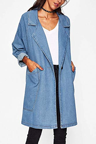 Fashion Libero Jeans Chic Primaverile Maniche Cute Lunghe Tendenza Donna Cappotto Autunno Baggy Skyblue Lunghi Fidanzato Giacche Outerwear Giacca Blu Elegante Mieuid Tempo qO74wgzZ