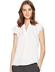 Calvin Klein Womens Cap Sleeve V-Neck Top
