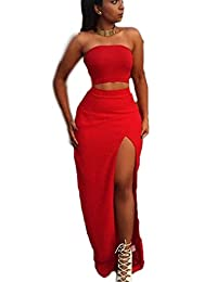Women's Sexy 2 Pieces Slit Maxi Evening Dress