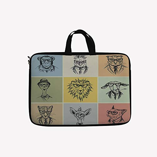 - 3D Printed Double Zipper Laptop Bag,Camel Cat Lion Goat Tiger Business Man Glasses,14 inch Canvas Waterproof Laptop Shoulder Bag Compatible with 14