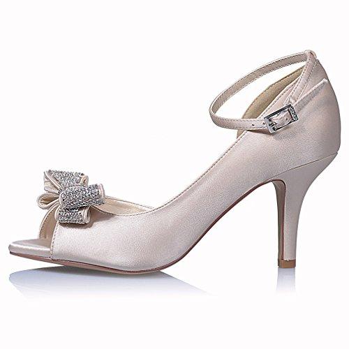 Image of ERIJUNOR Women Comfortable Middle Heel Peep Toe Bows Rhinestones Satin Wedding Evening Party Shoes