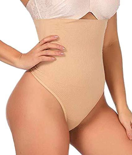 ShaperQueen 102 Best Womens Waist Cincher Body Shaper Trimmer Trainer Slimmer Girdle Faja Bodysuit Short Slip Tummy Belly Weighloss Control Brief Corset Plus Size Underwear Shapewear Thong (XS, Nude)