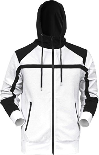 Hooded Terry Sweater - BR Mens Jacket French Terry Waffle Zip Up Mesh Hoodie Sweater Casual Athletic Tracksuit Top (Large, White/Black)