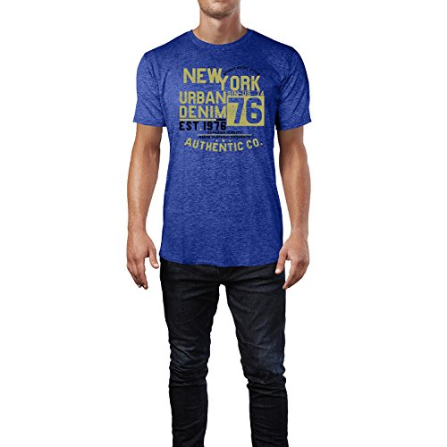 Sinus Art ® Herren T Shirt New York Urban Denim ( Heather_Blue ) Crewneck Tee with Frontartwork