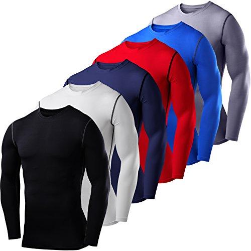 PowerLayer Herren Kind Funktionsunterwäsche Kompressionsshirt Armour Compression Top Skins Langarm - Crew Neck - Large - Red