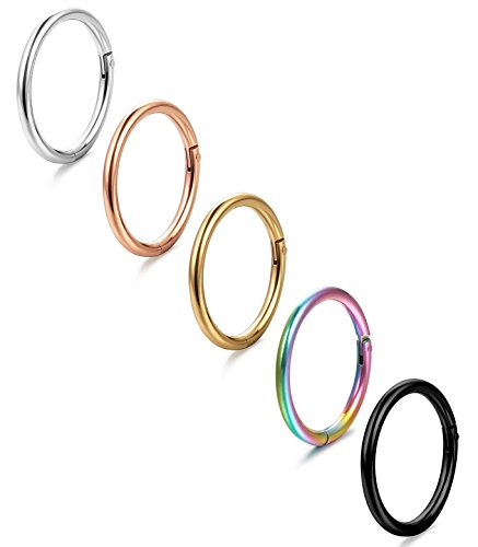 ORAZIO 5Pcs 16G Stainless Steel Nose Ring Body Piercing Ear Hoop Seamless Clicker (Seamless Nose Ring)