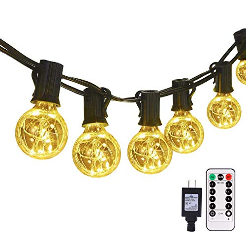 G40 Globe Outdoor String Lights Remote, Dimmable 30LED Bulbs 32.8ft Indoor/Outdoor String Lights Linkable Waterproof Patio Party Wedding Gazebo Bedroom Decor, Warm White