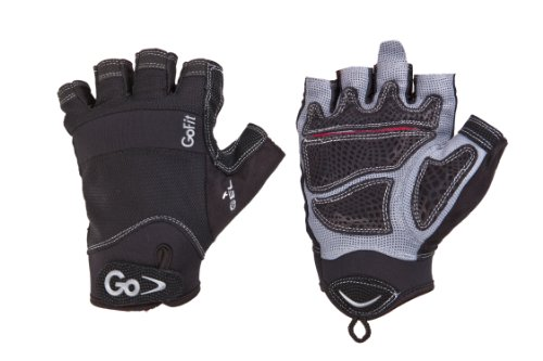 GoFit Men's Extreme Articulated Grip Pittards Etched Leather Glove with Interactive 12-Week Training Cd-ROM (Black, Medium)