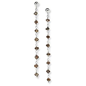 14K White Gold Coffee Brown Diamond Briolette Earring