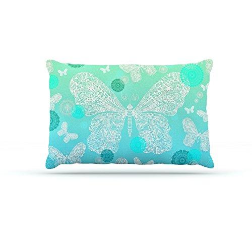 Kess InHouse Monika Strigel Butterfly Dreams Mint  Fleece Dog Bed, 50 by 60 , Aqua Teal