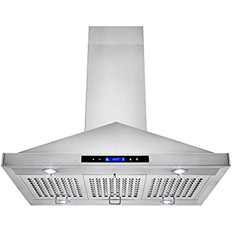 Golden Vantage 36 Island Mount LED Display Touch Control Stainless Steel Kitchen Cooking Fan Range Hood