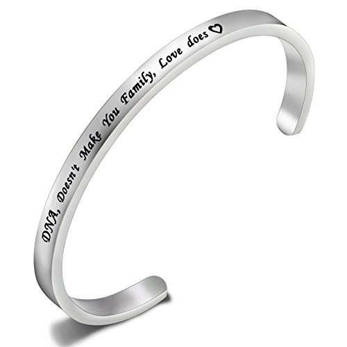 FEELMEM Stepdaughter Bangle DNA Doesn't Make You Family Love Does Cuff Bangle Bracelet,Family Jewelry Gift for Adopted Child Step Child Stepdaughter (DNA Doesn't.-Silver) by FEELMEM