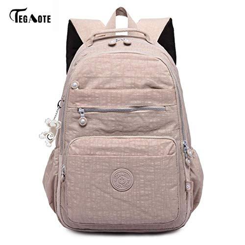 Apricot-27CMX13CMX37CM 1367  QWKZH Sacs à Dos Laptop sac à dos femmes voyage sacs Multifunction sac à dos imperméable Nylon School sac à doss for Teenagers