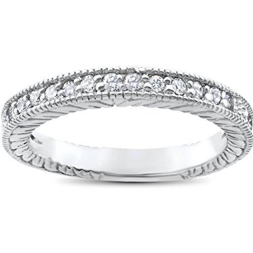 - 1/5ct Heirloom Diamond Vintage Wedding Ring 14K White Gold Womens band