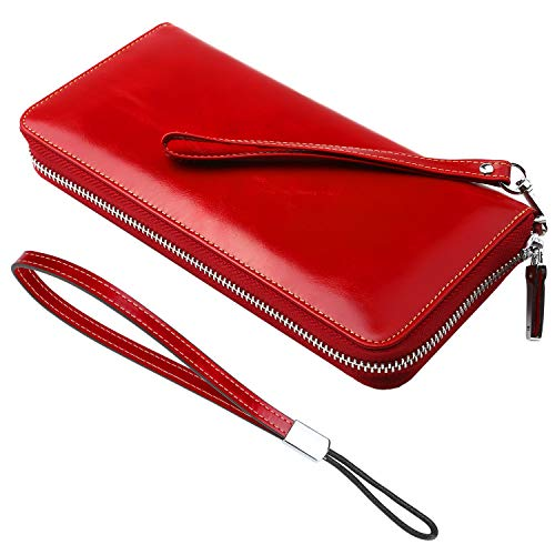 Lavemi Women's RFID Blocking Real Leather Zip Around Wallet Clutch Large Travel Purse Wristlet(Large Size Red)