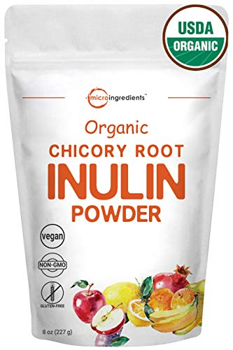 Organic Chicory Root Inulin Powder, 8 Ounce, Natural Prebiotic Fiber for Intestinal Colon, Gut Health & Digestive Function, Non-GMO and Vegan Friendly