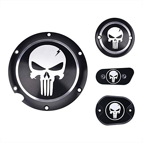 (Set Clutch Timing Cover Engine Derby Timer Cover Points Covers Kit Air Cleaner Covers CNC Aluminium Skull Motorcycle Accessories for Harley Davidson Iron XL883 72 )