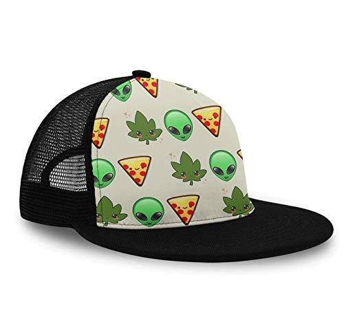 YongColer Mesh Baseball Hats Girl Flat Bill Hats, Hip Hop Snapback Hat Cap Graphic Hats for Boy (Alien Face and Pizza)