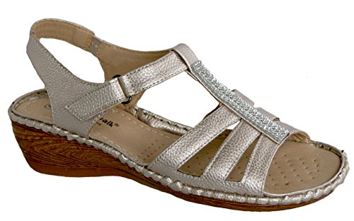 estate Gold tacco donna Trim cuneo Walk Rose diamante con sandalo Cushion Da OwXCUIq