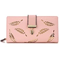 Henraly Women Wallet Female Long Wallet Gold Hollow Leaves Pouch Wallet For Women