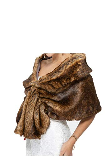 (Warm Faux Fur Wedding Shawl Perfect Bridal Wraps Shrugs Stoles for Party/Show,Dark Brown and Black,Rex Rabbit Fur,78)