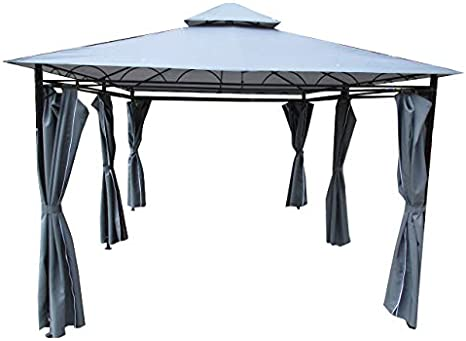 ASS 3x4 Metros pabelon con Elegantes Cortinas 6, el Techo 100% Impermeable, UV30+ 7075A Antracita: Amazon.es: Jardín
