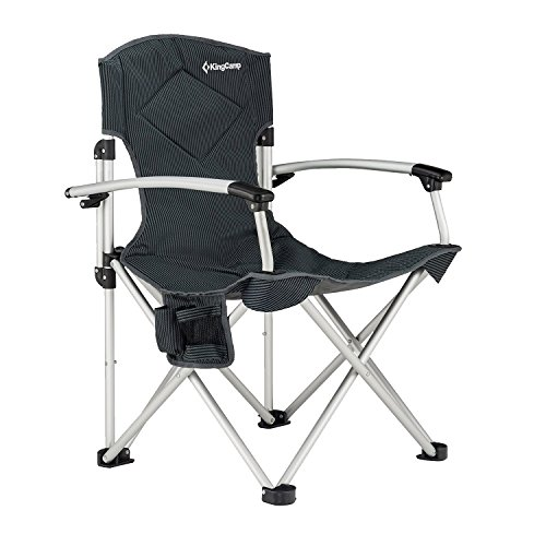 Quad Aluminum - KingCamp Camping Quad Chair Smooth Armrest 1200D Oxford Fabric Aluminum Frame Padded with Cup Holder Storage Pocket Folding Oversized, Carry Bag Included, Supports 264 lbs