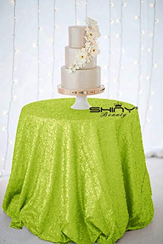 Lime Green Tablecloth Round 120Inch Lime Green Sequin Table Cloth Party Tablecloth Lime ()