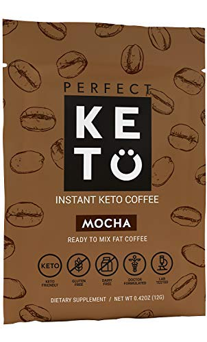 Perfect Keto Mocha Instant Coffee: Ketogenic Fat Coffee Sugar Free Cafe Latte w Coconut Oil MCT Creamer for Ketosis on Ketone Friendly Diet. Low Carb, No Ghee Butter. Ketosis & Octane for Brain