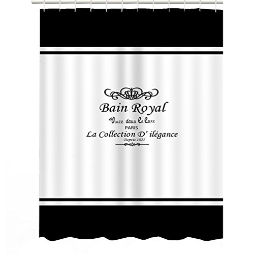 Bongha Mold Resistant Fabric Ruffle Shower Curtain Waterproof Bathroom Curtains Washable Black And White 72 X