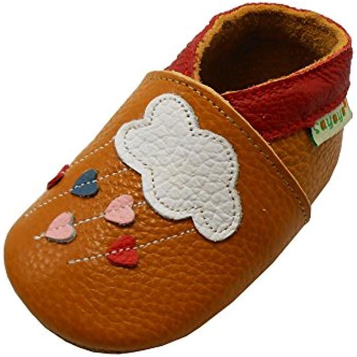SAYOYO Baby Cloud Soft Sole Leather Infant Toddler Prewalker Shoes