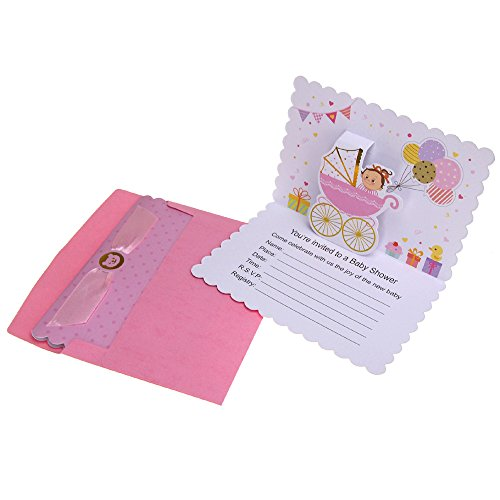 Homeford Baby Shower Girl Pop-Up Invitations, Pink, 6-3/4-Inch, 10-Count