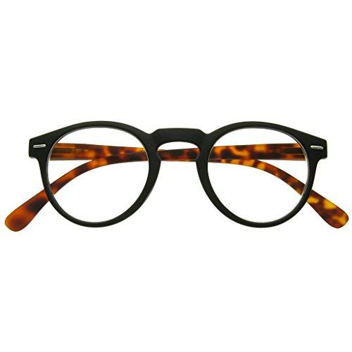 108923a94e7 GL2193 Oxford Matt Black   Tortoiseshell Round Geek Style Unisex Reading  Glasses +1.0