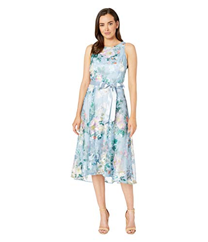 Tahari by ASL Embroidered Floral Midi Length Halter Dress Sky Blue Floral 16