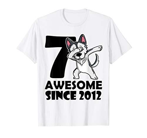 7th Birthday T Shirt Dabbing Husky Dog Awesome Since 2012