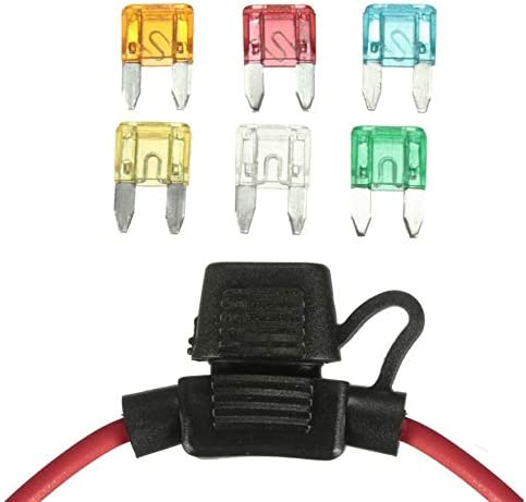 Color Azul Portafusibles Mini Blade en l/ínea de 12 V para autom/óvil con 5 10 15 20 25 30A Fusibles